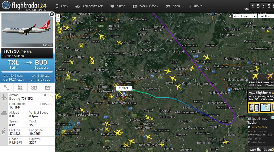 Utasrosszullét: Budapesten landolt a Turkish Airlines gépe